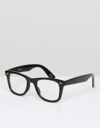 ASOS Square Glasses In Black With Clear Lens - Black