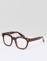 ASOS Square Glasses In Tort With Clear Lens - Brown