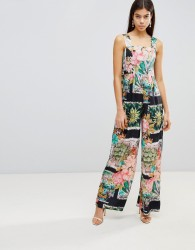 ASOS Square Neck Jumpsuit in Postcard Print - Multi