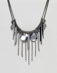 ASOS Statement Jewel and Metal Shape Necklace - Silver