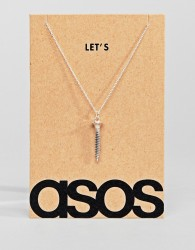 ASOS Sterling Silver Let's Screw Necklace - Silver
