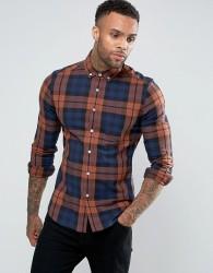 ASOS Stretch Slim Check Shirt - Brown