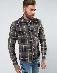 ASOS Stretch Slim Check Shirt In Khaki - Green