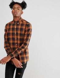 ASOS Stretch Slim Check Shirt - Orange