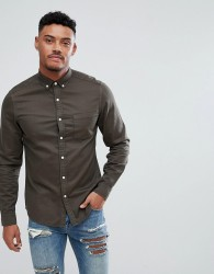ASOS Stretch Slim Denim Shirt - Green