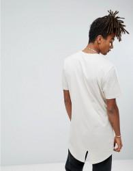 ASOS Super Longline T-Shirt With Fish Tail Split Hem - Beige