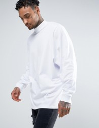 ASOS Super Oversized Long Sleeve T-Shirt With Oversized Batwing Sleeve In White - White