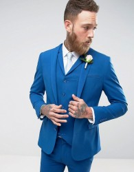 ASOS Super Skinny Fit Suit Jacket In Blue - Blue