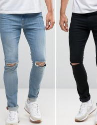 ASOS Super Skinny Jeans 2 Pack In Black With Knee Rips & Mid Blue With Knee Rips SAVE - Multi