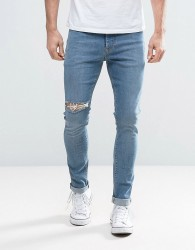 ASOS Super Skinny Jeans With Thigh Rip In Mid Blue - Blue