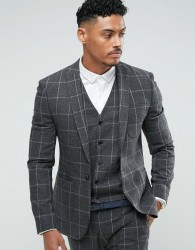 ASOS Super Skinny Suit Jacket In Charcoal Windowpane Check - Grey