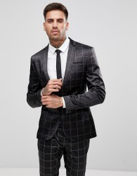 ASOS Super Skinny Suit Jacket in Printed Slogan Check - Black