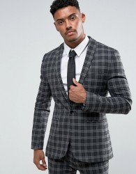 ASOS Super Skinny Suit Jacket in Tonal Grey Check - Grey