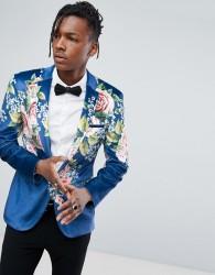 ASOS Super Skinny Suit Jacket In Velvet With Teal Floral Print - Blue
