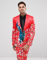 ASOS Super Skinny Suit Jacket With Red Peacock Print - Red
