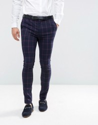 ASOS Super Skinny Suit Trousers In Navy And Pink Windowpane Check - Navy