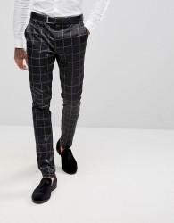 ASOS Super Skinny Suit Trousers in Printed Slogan Check - Black