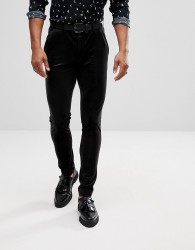 ASOS Super Skinny Trousers In Black Velvet - Black