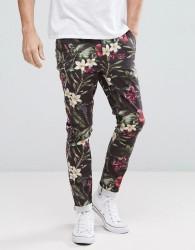 ASOS Super Skinny Trousers In Bright Floral Leaf Print - Black