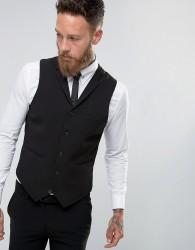 ASOS Super Skinny Waistcoat In Black - Black