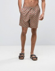 ASOS Swim Shorts In Stone With Polka Dot Print In Mid Length - Beige