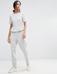 ASOS T-Shirt Jersey Jumpsuit with Ruffle Peplum - Grey