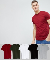 ASOS T-SHIRt With Crew Neck 5 Pack SAVE - Multi