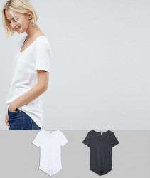 ASOS T-Shirt with Scoop Neck and Curved Hem 2 Pack - Multi