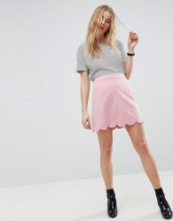 ASOS Tailored A-Line Mini Skirt with Scallop Hem - Pink