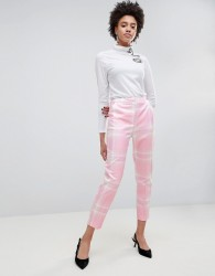 ASOS Tailored Slim Trouser in Pink Check - Multi