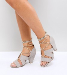 ASOS TALI Wide Fit Lace Up Heeled Sandals - Grey