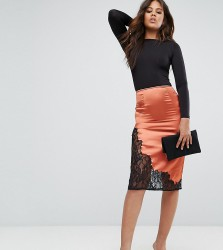 ASOS TALL Boudoir Slip Skirt with Lace Insert Hem - Orange