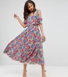 ASOS TALL Cami Cold Shoulder Flutter Sleeve Midi Dress in Floral Print - Multi
