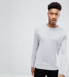 ASOS TALL Crew Neck Cotton Jumper In Grey - Grey