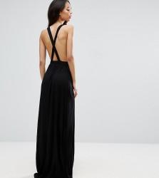ASOS TALL Cross Back Jersey Maxi Beach Dress - Black