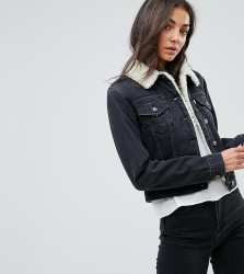ASOS TALL Denim Shrunken Borg Jacket in Washed Black - Black