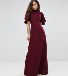 ASOS TALL Flutter Sleeve High Neck Maxi Dress - Red