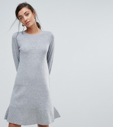 ASOS TALL Knitted Dress with Frill Hem - Grey