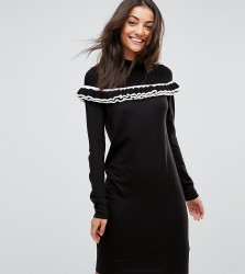 ASOS TALL Knitted Dress With Tipping And Frill - Black