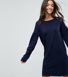 ASOS TALL Knitted Jumper Dress with Volume Dress - Navy
