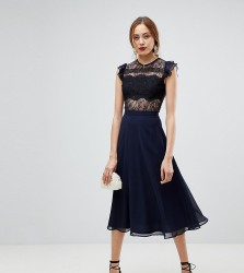 ASOS TALL Lace Midi Dress with Lace Frill Sleeve - Blue