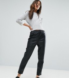 ASOS TALL Leather Look Tapered Trouser with Elasticated Back - Black