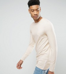 ASOS TALL Longline Muscle Long Sleeve T-Shirt With Side Zips - Beige