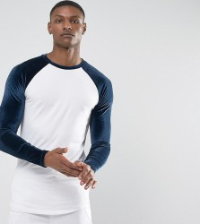 ASOS TALL Longline Muscle Long Sleeve T-Shirt With Velour Sleeves And Curve Hem - White