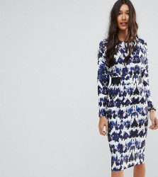 ASOS TALL Midi Dress With Elastic Waist Detail In Ink Splash Print - Multi