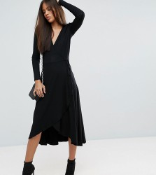 ASOS TALL Midi Wrap Tea Dress With Long Sleeves - Black