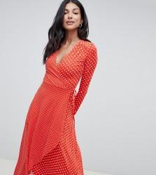 ASOS TALL Midi Wrap Tea Dress With Long Sleeves In Polka Dot - Multi