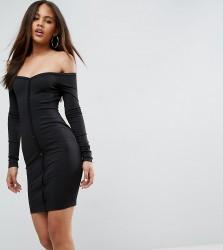ASOS TALL Mini Sweetheart Neck Button Through Bodycon Dress - Black