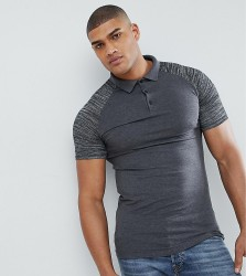 ASOS TALL Muscle Polo With Contrast Raglan Sleeves In Interest Fabric - Grey