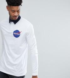 ASOS TALL NASA Longline Long Sleeve Rugby Polo - White
